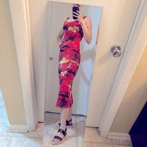 Hawaiian Palm Midlength Red Florida Vacation Dress